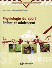 Physiologie du sport ; enfant et adolescent - Intérieur - Format classique