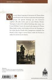 Thomas mann ; les métamorphoses d'hermès - 4ème de couverture - Format classique