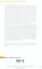 Un Professionnel Des Lettres Au Xviiie Siecle - 4ème de couverture - Format classique