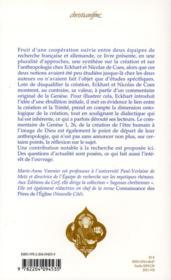 La création chez Maître Ekchart et Nicolas de Cues - 4ème de couverture - Format classique