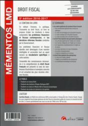 Droit fiscal (édition 2016/2017) - 4ème de couverture - Format classique