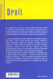 Droit Communautaire General - 4ème de couverture - Format classique