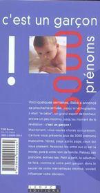 C'Est Un Garcon 3000 Prenoms - 4ème de couverture - Format classique