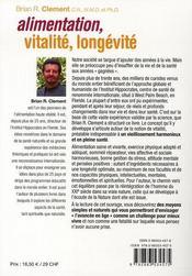 Alimentation, vitalité, longévité - 4ème de couverture - Format classique