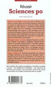 Reussir Sciences Po ; Edition 2002 - 4ème de couverture - Format classique
