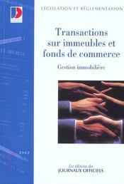 Transactions sur immeubles et fonds de commerce ; gestion immobiliere - Intérieur - Format classique
