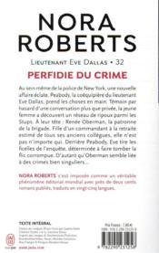 Lieutenant Eve Dallas T.32 ; perfidie du crime - 4ème de couverture - Format classique