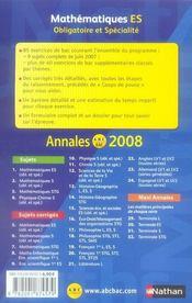 Annales ABC du bac ; sujets & corrigés T.5 ; mathématiques ; obligatoire et spécialité ; terminale es ; bac 2008 - 4ème de couverture - Format classique