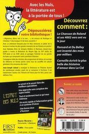 La littérature française pour les nuls t.1 - 4ème de couverture - Format classique