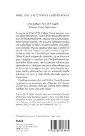 Un quinze août à Paris ; histoire d'une dépression - 4ème de couverture - Format classique