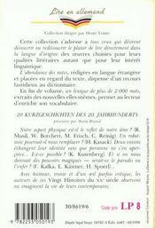20 kurzgeschichten des 20 jahrhunderts - 4ème de couverture - Format classique