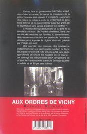 Aux ordres de vichy - enquete sur la police francaise et la deportation - 4ème de couverture - Format classique