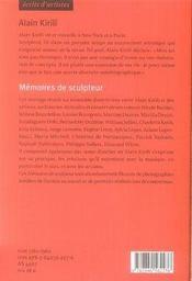 Alain kirili ; mémoires de sculpteur - 4ème de couverture - Format classique