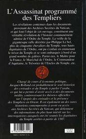 L'assassinat programmé des Templiers - 4ème de couverture - Format classique