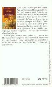 Narcisse et Goldmund - 4ème de couverture - Format classique