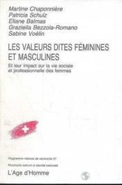 Les Valeurs Dites Feminines Masculines - Couverture - Format classique
