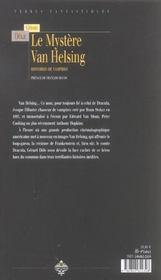 Mystere van helsing - 4ème de couverture - Format classique