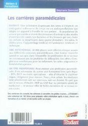 Les carrieres paramedicales - 4ème de couverture - Format classique