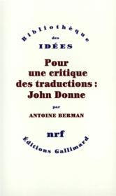 Pour une critique des traductions : John Donne - Couverture - Format classique