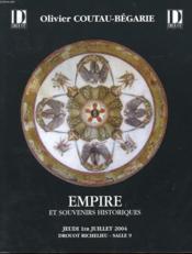 CATALOGUE DE VENTE - EMPIRE ET SOUVENIRS HISTORIQUES - JEUDI 1er JUILLET 2004 - DROUOT RICHELIEU - SALLE 9 - Couverture - Format classique