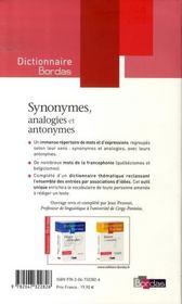 Dictionnaire Bordas des synonymes, analogies et antonymes - 4ème de couverture - Format classique
