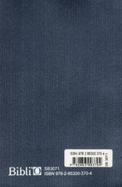 Nouveau testament et psaumes francais courant format compact (bleu) - 4ème de couverture - Format classique