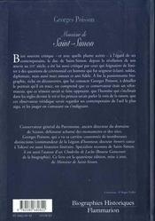 Monsieur De Saint-Simon - 4ème de couverture - Format classique