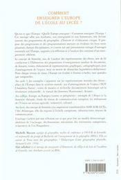 Comment Enseigner L'Europe De L'Ecole Au Lycee - 4ème de couverture - Format classique