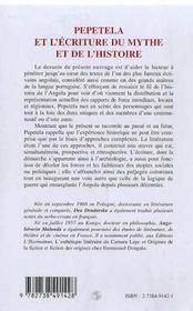 Pepetela Et L'Ecriture Du Mythe Et De L'Histoire - 4ème de couverture - Format classique
