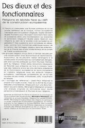 Des dieux et des fonctionnaires ; religions et laïcités face au défi de la construction européenne - 4ème de couverture - Format classique