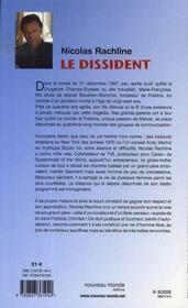Le dissident - 4ème de couverture - Format classique