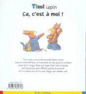 Timi lapin ; ça, c'est a moi ! - 4ème de couverture - Format classique