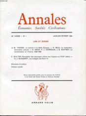 ANNALES : ECONOMIES SOCIETES CIVILISATIONS 39e ANNEE N°1 1984 : Lire et ecrire / La lecture à la belle époque..... - Couverture - Format classique