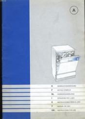 Notice D'Emploi D'Un Lave Vaisselle. - Couverture - Format classique