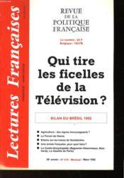 Revue De La Politique Francaise - Mensuel N°419 - Quui Tire Les Ficelles De La Television ? - Bilan Du Bresil 1992 - Couverture - Format classique