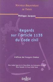 Regards sur l'article 1135 du code civil. volume 46 - Intérieur - Format classique