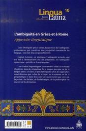 L'ambiguïté en grèce et à rome ; approche linguistique - 4ème de couverture - Format classique