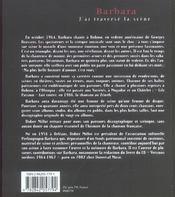 Barbara ; J'Ai Traverse La Scene - 4ème de couverture - Format classique
