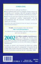 Code Civil 2002 - 4ème de couverture - Format classique