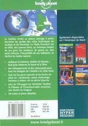 Quebec ; 3e Edition - 4ème de couverture - Format classique