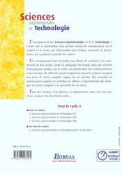 Sciences expérimentales et technologie ; CM2 ; manuel de l'élève (édition 2002) - 4ème de couverture - Format classique