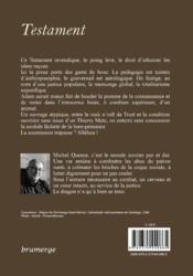 Testament - 4ème de couverture - Format classique