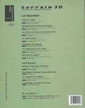 Terrain N.30 ; Le Regard - 4ème de couverture - Format classique