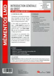 Introduction générale au droit 2016-2017 - 4ème de couverture - Format classique