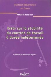 Essai sur la stabilite du contrat de travail a duree indeterminee. volume 48 - Intérieur - Format classique