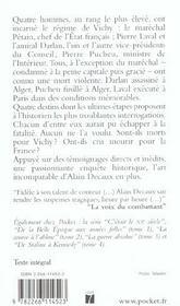 Morts Pour Vichy - 4ème de couverture - Format classique