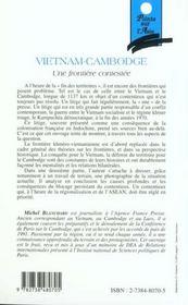 Vietnam-Cambodge ; une frontière contestée - 4ème de couverture - Format classique