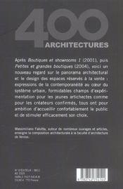 Boutiques et showrooms 2 - 4ème de couverture - Format classique