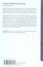 Le travail éducatif en milieu ouvert ; principes et pratiques - 4ème de couverture - Format classique