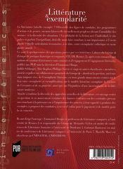 Littérature et exemplarité - 4ème de couverture - Format classique